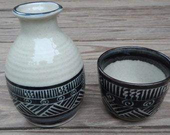 Cool Mod Looking Asian Pottery Saki Set!