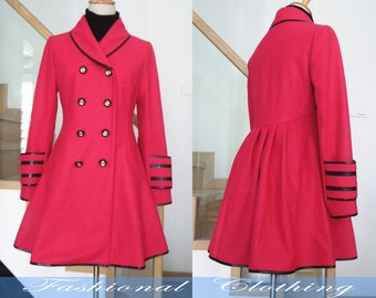 red black coat wool coat winter coat spring autumn coat warm coat women clothing women coat long coat jacket outerwear dress