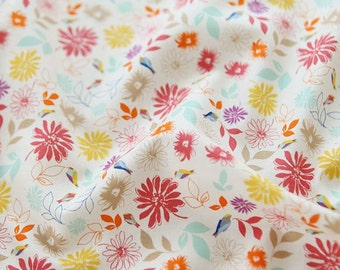 Lovely Floral and Little Bird Pattern Soft 20s Cotton Fabric