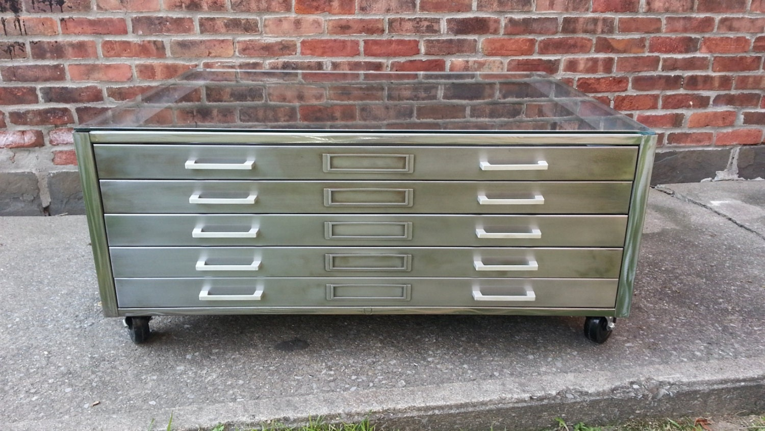 Brushed Steel Flat File Coffee Table