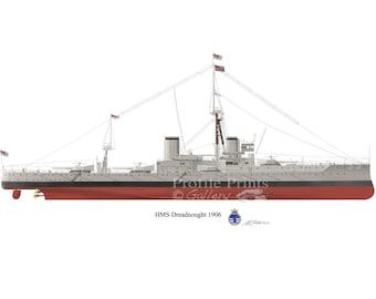 HMS Dreadnought 1906 Vintage Battleship Profile Artwork, A3 Glossy Print of Royal Navy British warship