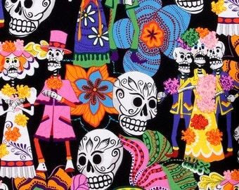 "Los Novios ""Day of the Dead"" Cotton Fabric by the 1/4 Yard"