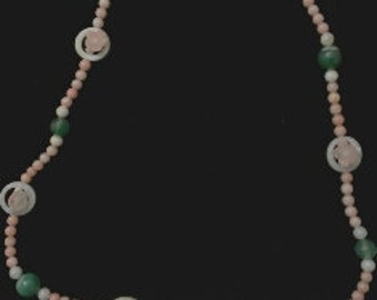 Pink Coral with shell beads
