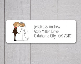 Bride & Groom Return Address Labels, Wedding Stickers, Return address stickers for invitations (#319)