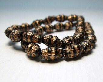 Czech Glass Copper Beads, Rustic, Crustacean