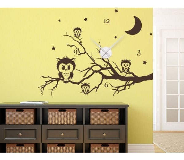 Owl clock wall decal clock sticker mural vinyl wall art for Clock wall mural