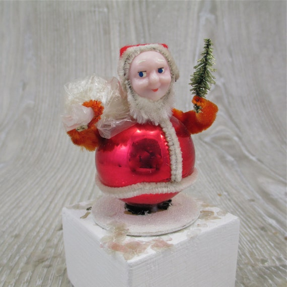 Santa S Bag Of Toys : Vintage s santa with bag of toys and tree japan chenille