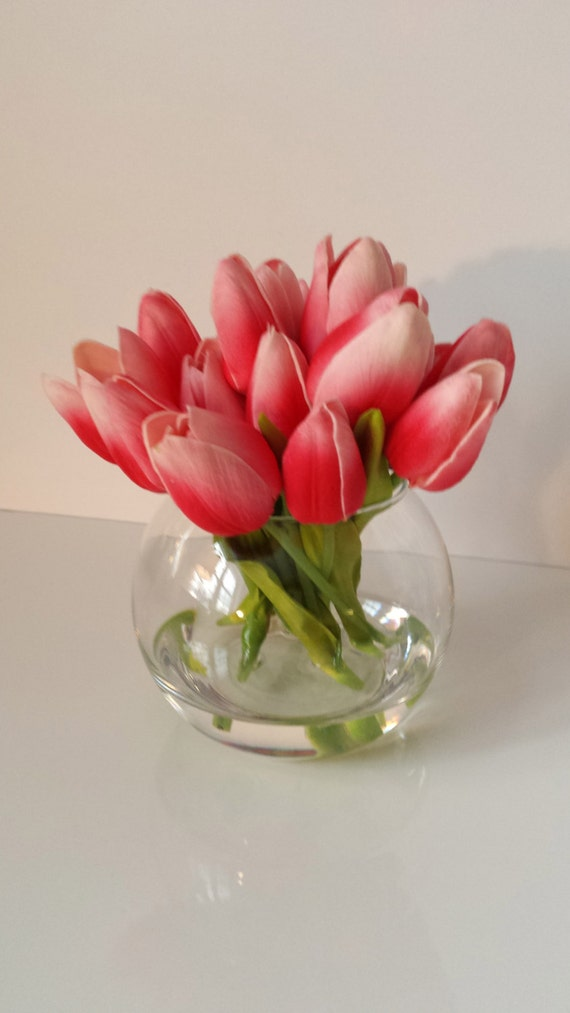 Artificial Tulips\/Silk Flower Arrangement\/SIlk by peachpeonyhome