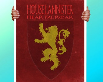 Game of Thrones House Lannister - Lion - Art Print / Poster / Cool Art - Any Size