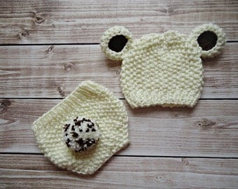 Baby Hat, Knit Baby Hat, Knit Beanie Hat with Ears  , Ecru Teddy Bear Hat whit diaper cover,  MADE TO ORDER