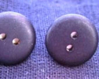Small Matte Black Button Earrings