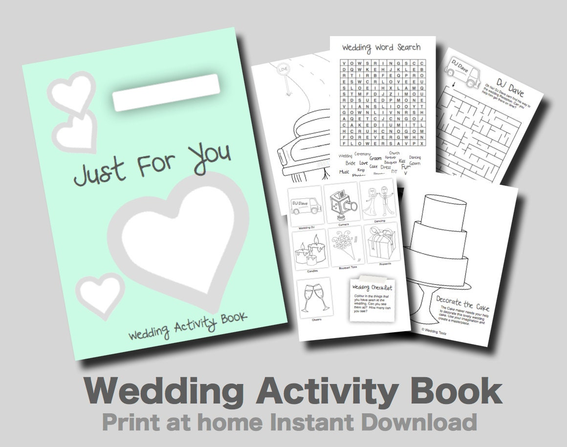 Kids Wedding Activity Book Mint Cover Print At Home PDF Kids