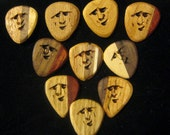 Hand Carved Wooden  Standard Teardrop Guitar Pick or Modified Rounded Teardrop