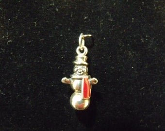 Sterling Silver Snowman with Red and Green Epoxy 3D Charm/Pendant  - .925  4.9 grams