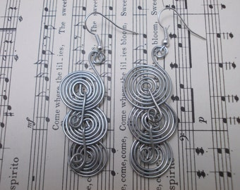 Handmade Silver Wire Three Spiraled Earrings