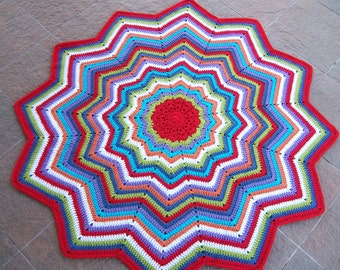 Crocheted Round Ripple Afghan, Lapghan or Throw - Multi-Color