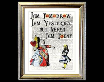 Alice in Wonderland NEVER JAM TODAY. Art on vintage encyclopedia page