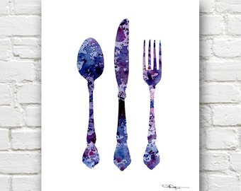 Knife Fork Spoon Art Print -Abstract Watercolor Painting - Kitchen Art Wall Decor