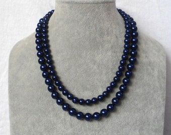 Navy Blue pearl Necklaces, Wedding necklace,pearl Necklace, 2 Strands bead  Necklace,Wedding Jewelry,Glass pearl Necklace,pearl necklace