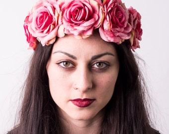 Pink Rose Floral Crown Headband, Boho Wedding, Bridal Headband, Festival Headband