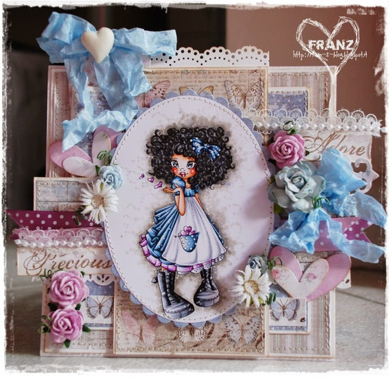 OOAK Handmade card by Franz - Saturated Canary Kisses