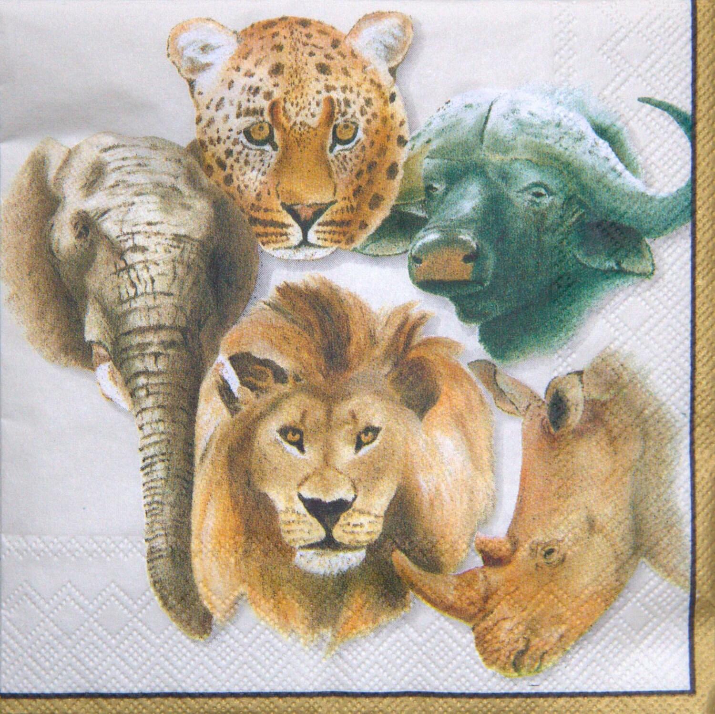 African Paper Napkins Serviettes No 22 Big Five Animals