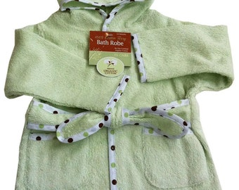 Organic 100% Cotton Terry Baby Bath Robe Celery Green - Personalized Embroidery