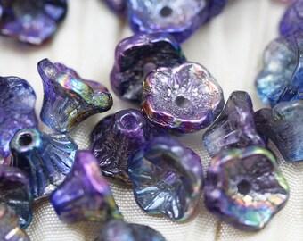 LAST!!! 50pcs 5X7mm Magic Blue 5 Petals Flower Bells Czech Glass Beads