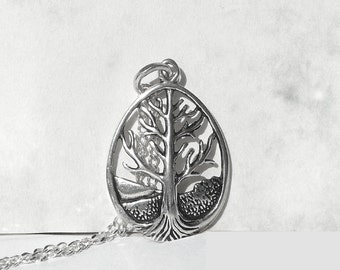 Big Tree of Life Necklace, Sterling Silver Pendant  Necklace, Tree of Life Pendant, Open Work Tree Charm, Curb Chain Silver Jewelry