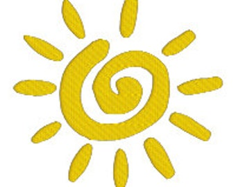 Buy 2, Get 1 Free - Stylized Sun Machine Embroidery Design - 4x4, 5x7 and 6x10, Summer is Here