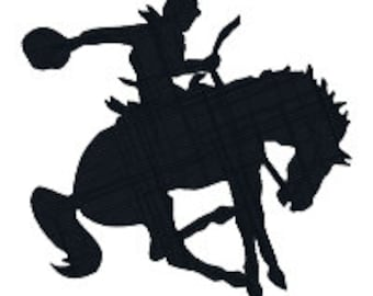 BUY 2, GET 1 FREE - Bucking Bronco Cowboy on Horse Silhouette Machine Embroidery Design - 3 Sizes - 4x4, 5x7, 6x10