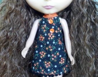 Black & Orange Floral/Checked Reversible Dress for Blythe