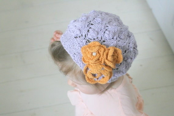 KNITTING PATTERN Lace beanie Violet with crochet flowers (baby/toddler/child/woman sizes)
