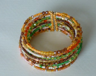 Bracelet Burmese orange, brown and green - Made in FRANCE