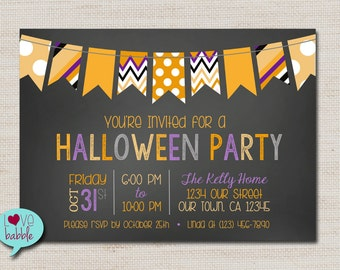 Halloween Party, pumpkin spider, fall autumn harvest party invitations invitation - PRINTABLE DIGITAL FILE - 5x7