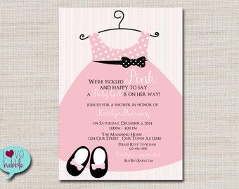 baby shower Girl, Tickled Pink, Onesie Dress Pink Black PRINTABLE DIGITAL FILE - 5x7