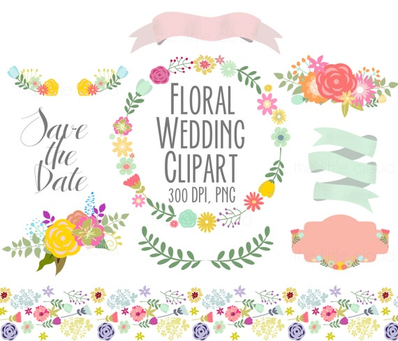 Spring Flowers Wedding Floral Clipart Digital Wreath Frames Scrapbooking Invitations Ribbons Banners