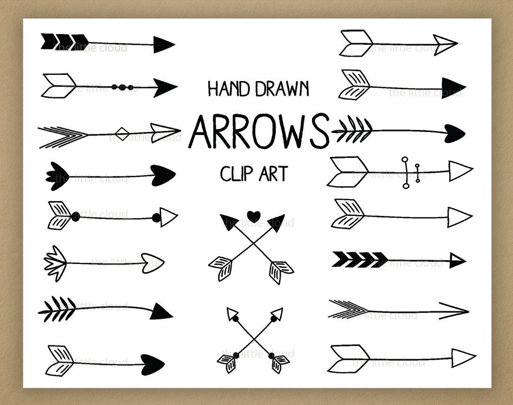 Black Hand Drawn Arrows Clipart A set of 18
