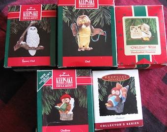 Hallmark Keepsake  Five Owl Ornaments NEW in box NEVER displayed