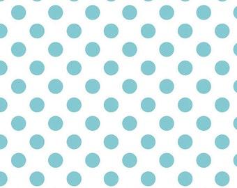 Riley Blake Medium Aqua Dots Le Creme Cotton Woven 1 Yard