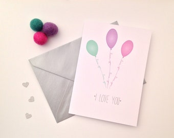 I love you blank greeting card blank balloon hearts love valentines day card