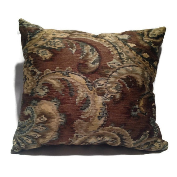 Throw Pillows Tan : Brown Tan Green Paisley Decorative Throw Pillow / 100% Cotton