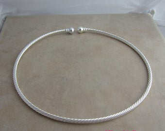 1 silver plated twisted neckwire add a pendant