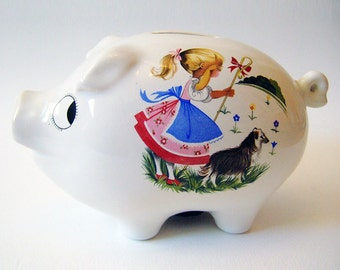 Vintage 1960s Kitsch Big Eye Nursery Rhyme China Piggy Bank Savings Bank Money Box