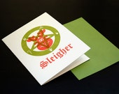 Sleigher - Letterpress Satanic Christmas Holiday Card