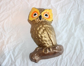 Vintage gold ceramic owl wall decoration