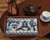 Dollhouse tray cloth KIT in needlepoint , 'Willow pattern' – 32 count silk gauze, tray (as kit) is 1.9 wide x 1.4 deep x 0.15 inches high