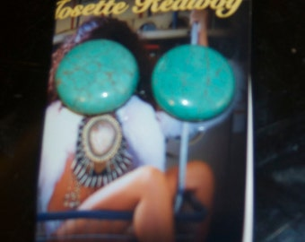 Huge statement turquoise clip on earrings
