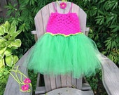 Birthday Girl's Crochet Tutu Party Dress Set with Headband and Barefoot Sandles