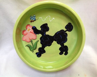 Hand Painted Poodle Ceramic Dog Bowl